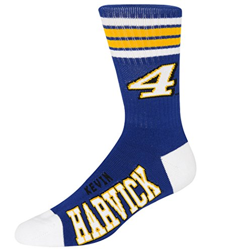 For Bare Feet NASCAR 4 Stripe Deuce Crew Mens Socks-Kevin Harvick #4-Royal/Gold-Large(10-13)