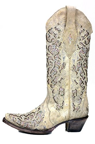 Corral Women's Glitter Inlay & Crystals Boot - White  - WHITE - 8 - M by CORRAL