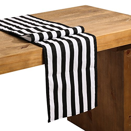 Ling's moment Black and White Striped Table Runner 12 x 108 inches Cotton Linen Runner for Wedding Party Bridal Baby Shower Table Top Decorations