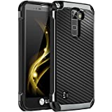 LG Stylo 2 Plus Case, LG Stylo 2 Case, LG Stylo 2V Case, BENTOBEN 2 in 1 Drop Protection Hard PC Soft TPU Bumper Laminated with Carbon Fiber Texture Chrome Shockproof Phone Protective Cover, Black