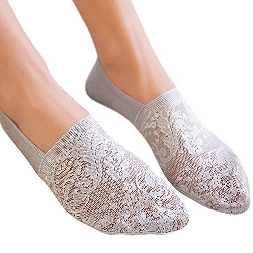 Women's No Show Lace Socks Non Slip Hidden Invisible for Flats Boat Summer Sock by aihihe(Light Gray)