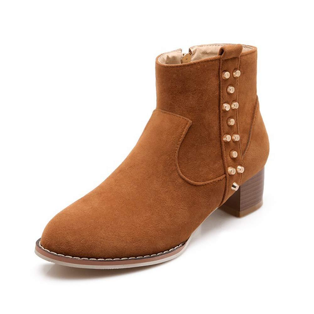 CITW Herbstliche Damenstiefel Rivet Wildleder Stiefel Mit Großen Damen Stiefeln Warme Stiefelmode Stiefel,Gelb,UK1 EUR35