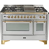 Ilve UM120FDMPI 48 Dual Fuel Range with Griddle 7 Semi-Sealed Burners Multi-Function European Convection Oven Electric Oven 2 Rotisseries and Warming Drawer: Stainless Steel with Brass