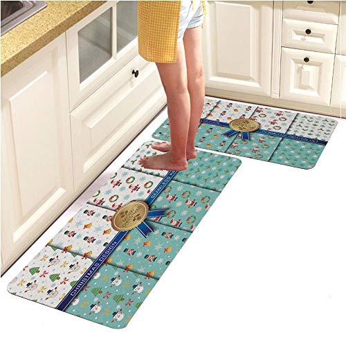 2 Piece Non-Slip Kitchen Mat Runner Rug Set Doormat Vintage Design, Christmas Seamless Pattern set2 (18