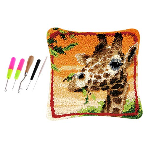 SM SunniMix DIY Pillow Case Animal Pattern Latch Hook Rug Kits with 5pcs Latch Hooks DIY Gifts