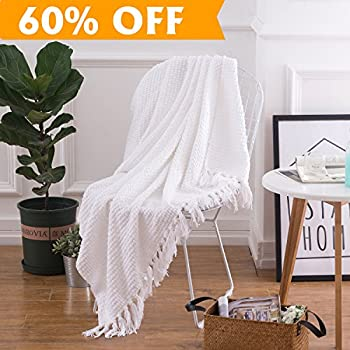 Lightweight Throw Blanket White Soft Plush Microfiber Sofa Couch Knit  Blankets With Fringe