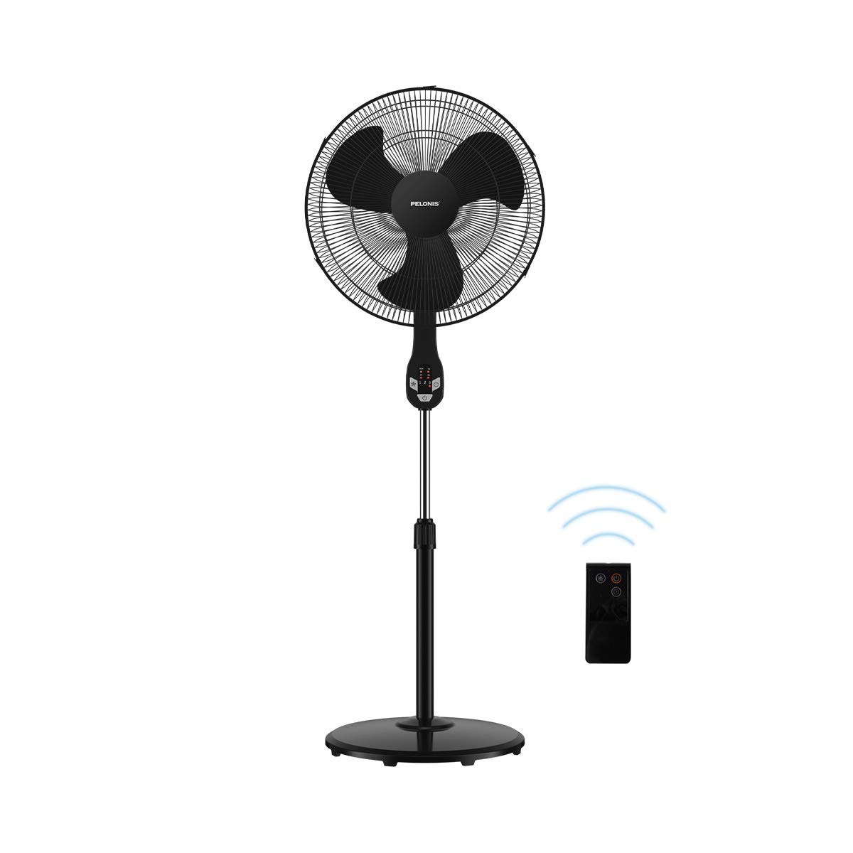 Pelonis FS45-18UR 18 Quiet Oscillating Pedestal Fan with LED Display, Remote Control, 3 Speeds and Modes, 7h Programmed Timer for Home and Office, Glossy Black, 18 Inch