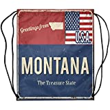 InterestPrint Greetings from Michigan Rusty Metal Sign with American Flag School Travel Daypack Gym Bag, Polyester Basketball Drawstring Bags Backpack - 16.5