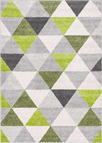 HomeWay Pattern Rugs - Triangle Modern Area Rug Green 5' x 7' Carpet Dark Green Contemporary Rug