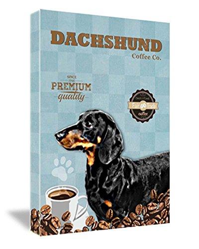 FRAMED CANVAS PRINT Dachshund Coffee Co. Cute Vintage Dog Print 16''W x 22