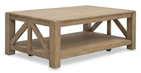 Charmant Rectangular Coffee Table With Casters In Weathered Toffee
