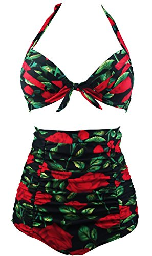 Cocoship Retro Red Rose & Black Floral Halter High Waisted Bikini Vintage Swimwear Swimsuit L(FBA)