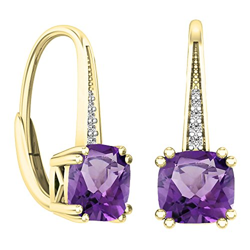 14K Yellow Gold Cushion Cut Amethyst & Round Cut White Diamond Ladies Dangling Drop Earrings