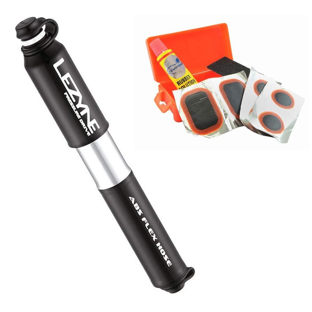 LEZYNE 圧力ドライブバイクハンドポンプ 120PSIプレスタ&シュレーダーバルブ対応 自転車フレームマウント(ブラック Mサイズ) Lumintrailパッチキット付き   B07JMHVY2P