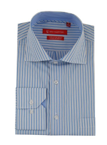 Gino Valentino Mens Striped Dress Shirt Cotton Spread Collar Barrel Cuff (17