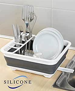 Amazon Com 14 5 Quot Collapsible Silicone Dish Drainer Rack