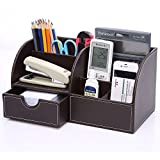 KINGFOM 7 Storage Compartments Multifunctional PU Leather Office Desktop Organizer, Stationery Storage Box Collection, Business Card/Pen/Pencil/Mobile Phone/Remote Control Holder(Full Brown Leather)
