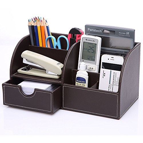 KINGOM™ 7 Storage Compartments Multifunctional PU Leather Office Desk Organizer,Desktop Stationery Storage Box Collection, Business Card/Pen/Pencil/Mobile Phone /Remote Control Holder Desk Supplies Organizer (Full Brown Leather)
