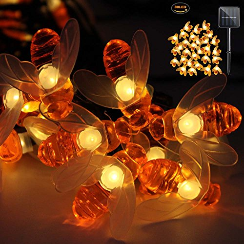 iMazer Bee Lights, Bumble Bee Decorations Solar String Lights 30 LED Honey Bee Shaped Fairy Light for Outdoor Garden Flower Fence Tree Face Decor, Warm White LD010