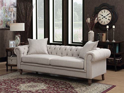 Christies Home Living Contemporary Linen Fabric Upholstered Button Tufted Living Room Chesterfield Sofa, Beige (Upholstered Chesterfield Sofa)