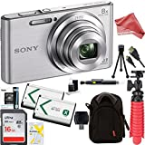Sony DSC-W830 Cyber-shot 20.1MP 2.7-Inch LCD Digital Camera (Silver) + SDHC Memory Dual Battery Kit + DigitalAndMore Accessory Bundle (16GB) For Sale