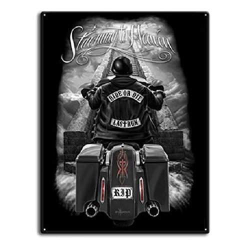 DGA Day of the Dead Ride or Die Motorcycle Stairway to Heaven Tin Metal Sign 12x16 Inches