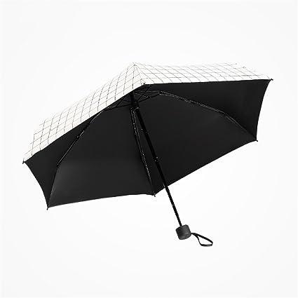 Mini Paraguas Súper Ligero Pequeño Plaid Protección Solar Paraguas De Viaje UV Mango Antideslizante Paraguas Portátil
