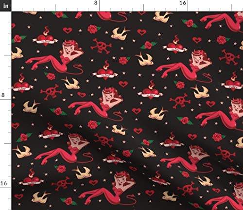 - Spoonflower Vintage Tattoo Fabric - Devilette Retro Art Devils Pinup Girl Rockabilly Style Print on Fabric by The Yard - Fleece for Sewing Blankets Loungewear and No-Sew Projects