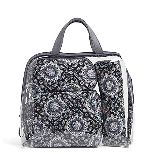 (Vera Bradley Iconic 4 Pc. Cosmetic Set, Charcoal Medallion, charcoal medallion, One Size)