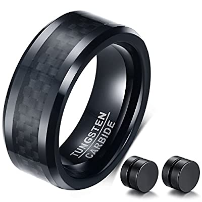 ABLES CHIC Men's Black Tungsten Carbide Wedding Ring Carbon Fiber Inlay Engagement Band 8mm Earrings Set