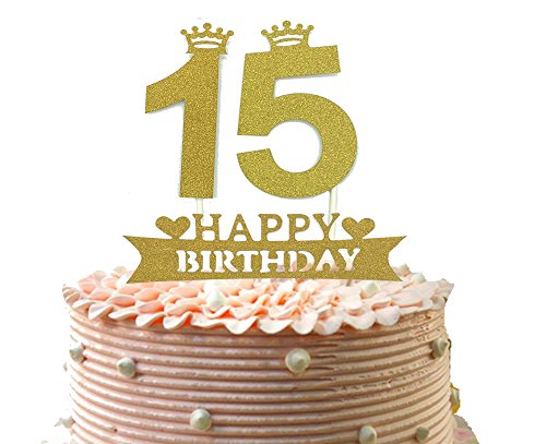 "Price comparison product image 15th Cake Topper and Happy Birthday Party Supplies Decoration,  Gold, 4.8"" Length"