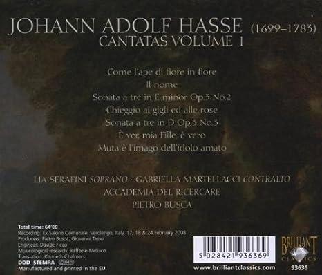 Cantates /Vol.1: Johann Adolf Hasse, Lia Serafini: Amazon.fr: Musique