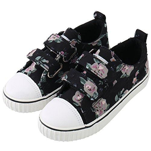 Petit Girls Shoes (PETIT BARI Girl's Shoes Flower Print Low-Top Hook & Loop Canvas Sneakers Black 24 M EU/7.5-8 M US Toddler)
