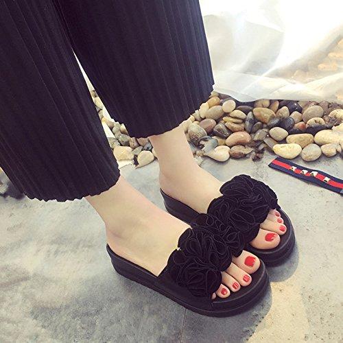 GAOLIM Zapatos De Mujer Primavera Zapatillas Cool Arrastre Y Calzado Plano Suave, Cómodo Remolcado Flores Señoras Zapatillas Negro