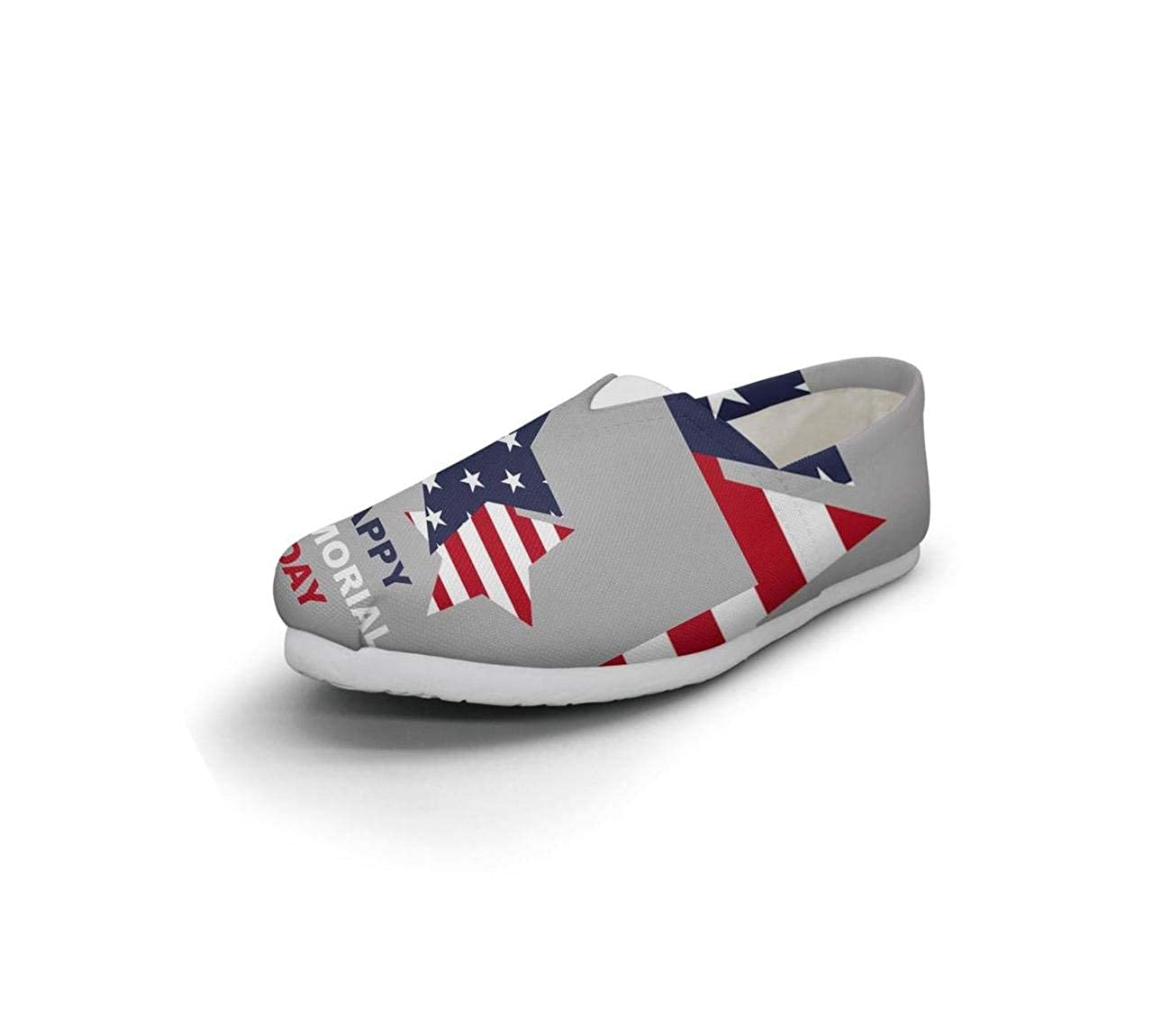 nkfbx Memorial Day American Flag Casual Flat Canva Shoes for Women Ballet