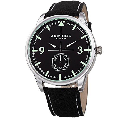 Akribos XXIV Men's Silver-Tone Case with Black Dial on Black Canvas Strap Watch ()