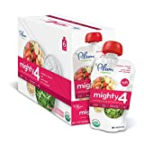 Plum Organics Mighty 4, Organic Toddler Food, Strawberry, Banana, Kale, Greek Yogurt, Oat and Amaranth, 4 ounce pouch (Pack of 12)
