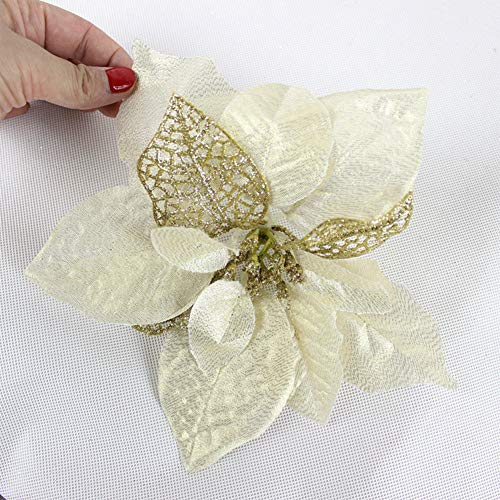 ACGN Glitter Christmas Flowers Glitter Poinsettia Christmas Tree Artificial Wedding Ornaments(12 Pack)