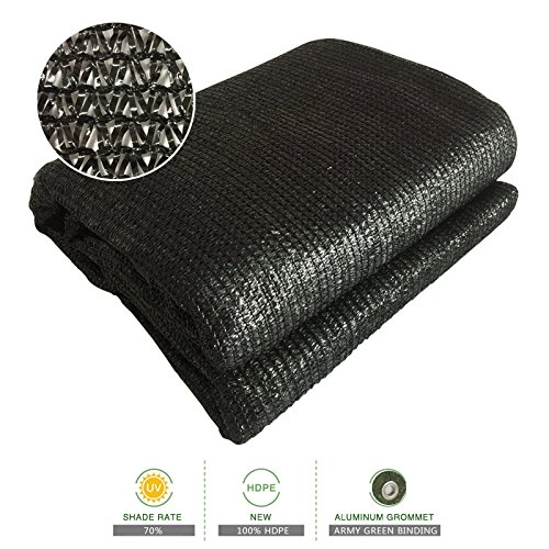 Sun Shade Cloth Zenda 70% Sunblock Black Greenhouse Shade Net 6.5'x13' UV Block Shade Tarp with Dark Green Taped Edge& Aluminium Grommets for Garden Plants