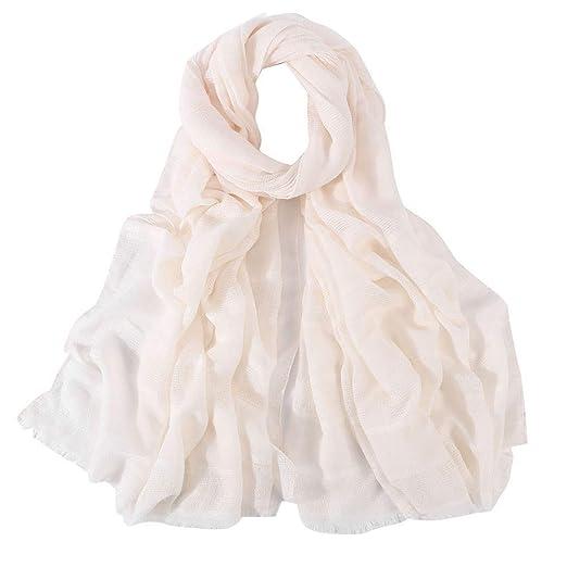 604fa10fd9296 Scarves for Women Lightweight, Cotton Linen Scarf, Women Fashion Muslim  Hijab Headscarf Lightweight Shawls