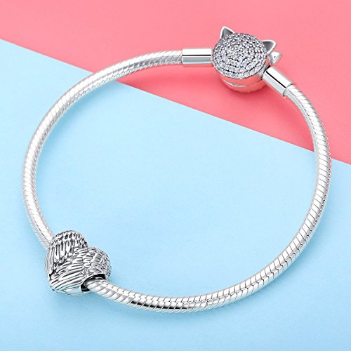 BAMOER 925 Sterling Silver Feathers Angel Wing Heart Shape Charm Bead Fit Bracelet Necklace 3
