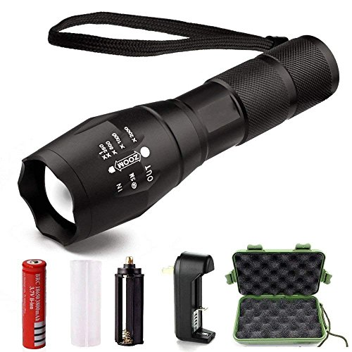 Airsspu Super Bright LED Tactical Flashlight, High Lumen Handheld Flashlight Zoomable Adjustable Focus 5 Modes Water Resistant Torch - Rechargeable 18650 Lithium Ion Battery & Charger