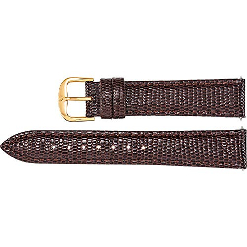 Men's 18 mm Long Brown Leather Lizard Grain Padded Watch Strap (Padded Lizard Brown)