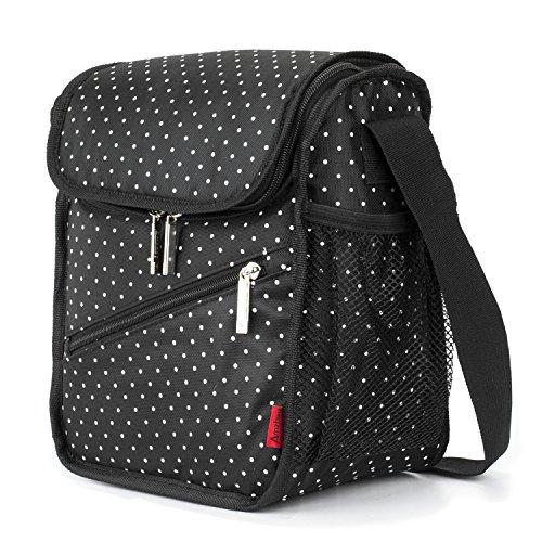 Amzbag Cooler Bag/S-size Lunch Bag/Leak-proof Cool Box Organizer/8L 12-Can For Travel/Picnic/Hiking (Black Dot)