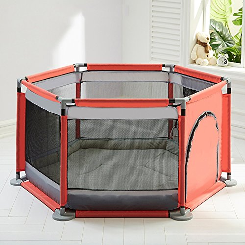Price comparison product image Bed Rails ZR- Children Safety Fence,  Iron Tube,  6 Panels Portable Foldable Folding,  Kids Baby Indoor Outdoor Safety Game Playpen Fence,  Room Divider Play Den (Color : D)