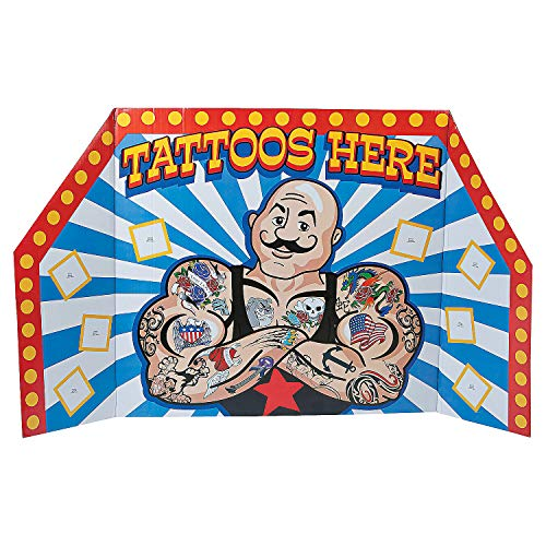 Fun Express - Carnival Cardbrd Tattoo Booth Stndup - Party Decor - Large Decor - Floor Stand Ups - 1 Piece -
