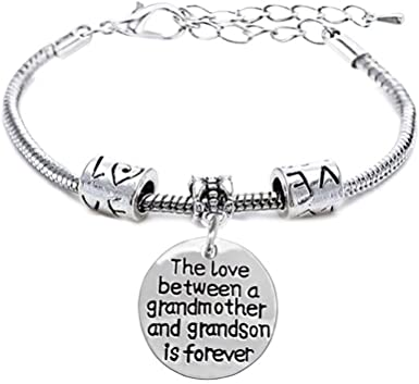 Love between Grandmother and Granddaughter custom quote jewelry handmade sterling silver Jewelry Personalized Mother Daughter bracelet