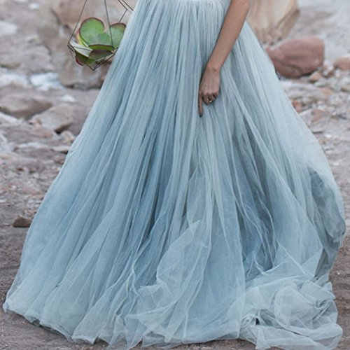 Lisong Women A-Line Sweep Train Tulle Party Engagement Skirt