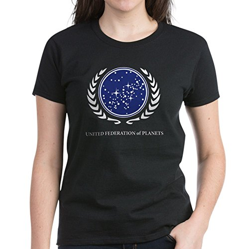 (CafePress - Star Trek United Federation of Planets T-Shirt - Womens Cotton T-Shirt Black)