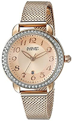 August Steiner Women's AS8192RG Rose Gold Crystal Accented Quartz Watch with Rose Gold Dial and Rose Gold Bracelet